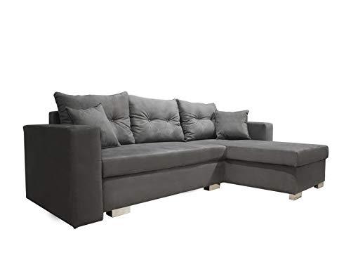 Meubletmoi hoekbank, rechts, uittrekbaar, stof, voeten verchroomd, modern design Laura Modern design grijs.