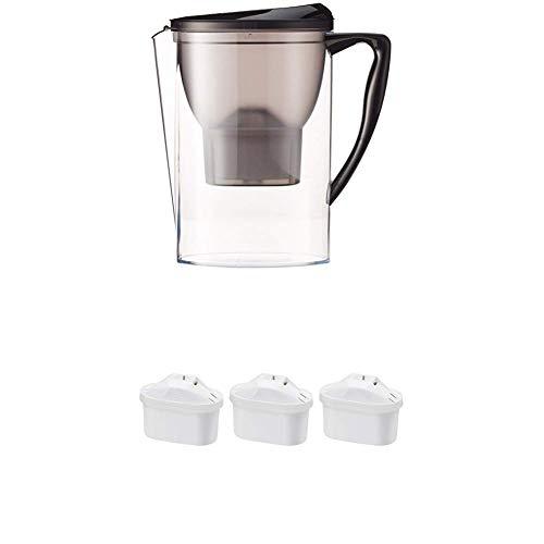 Amazon Basics - Caraffa filtrante per l'acqua, 2.3 L & Cartucce filtranti per Acqua, Confezione da 3