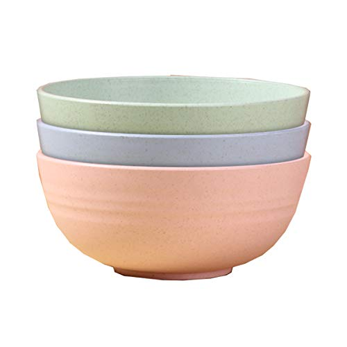 LOKIH Unbreakable Cereal Bowls,Lightweight Wheat Straw Cereal Bowls Soup Rice Cereal Pasta Salad Bowl, Dishwasher Microwave Safe, Kitchen Bowls 3 Pcs 5 Specifications Available,Multi colored,13.5x6cm
