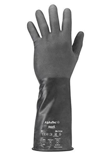 Ansell AlphaTec 38-514 Gants de Protection Chimique, Protection Maximale pour Travaux Dangereux, Design Souple et Confortable, EPI Professionnel, Sans Latex, Taille 8/M (1 Paire)