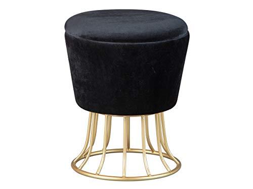 Inter Link Hocker Polsterhocker Pouf Design mit Metallgestell und Stauraum aus Samt in gold und schwarz