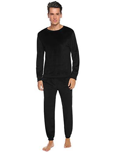 Abollria Conjunto de Pijama Básico para Hombre Ropa de Noche Cuello Redondo Pijama Polar Manga Larga Pantalones Largo para Primavera Invierno, Negro, XS