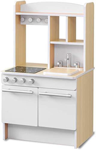 RiZKiZ おままごとキッチン お店ごっこ対応 【ホワイト】 幅55cmx奥行き47cmx高さ98cm 表はキッチン 裏はお店屋さん リバーシブル 木製 安心安全設計 子供用 組立式