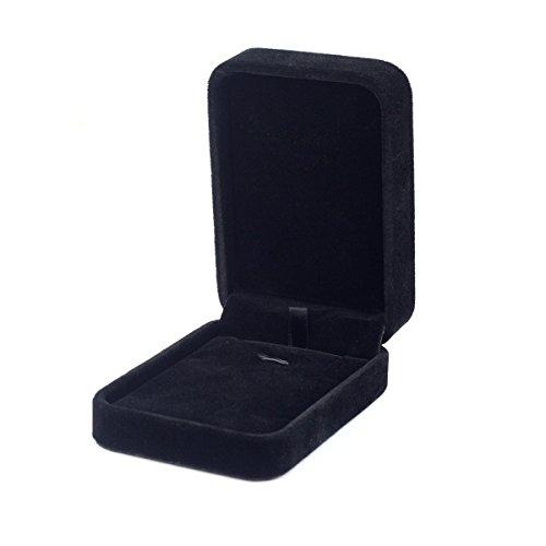 Premium Langhaar-SAMT Schmuck Set Display Box/Halskette Geschenkbox - schwarz