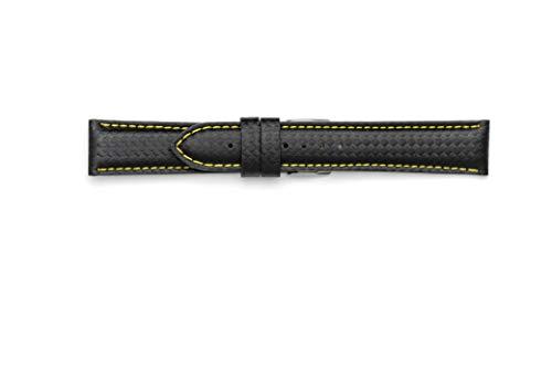 Cinturino Fibra di Carbonio waterproof 18mm 20mm 22mm 24mm. Made in Italy con materiale tecnico resistente all'acqua (20-18, Giallo)