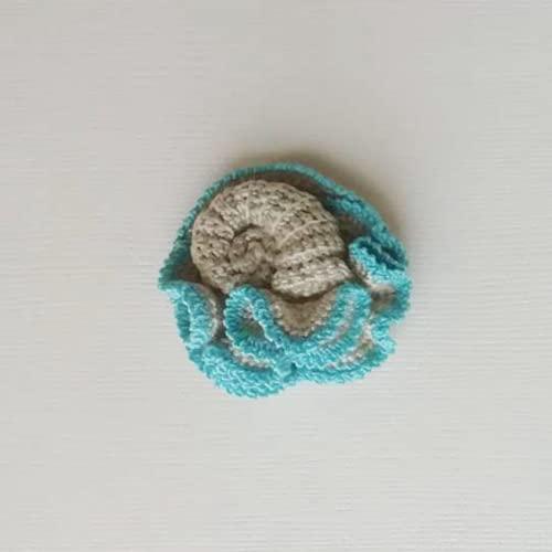 broche estilo marino de ganchillo, broche boho caracola