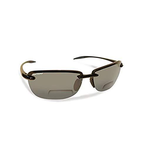 Flying Fisherman Cali Polarized Sunglasses with AcuTint UV Blocker for Fishing and Outdoor Sports, Black-Smoke, +2.00