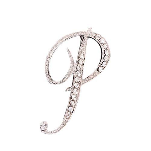Usstore - Broche de cristal con diseño de letra inglesa con