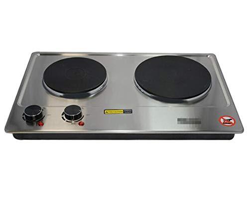 TSTYS Placa eléctrica Doble Caliente para cocinar la Placa eléctrica portátil, la Estufa eléctrica portátil, Adecuado para Las Utensilios de Cocina de la Placa de calefacción de 1500W (Color : Black)