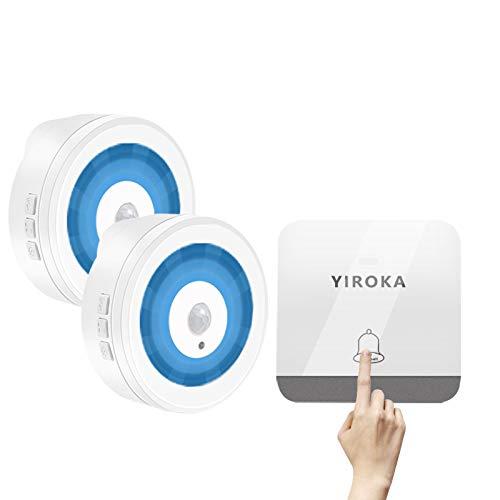 Timbre inalámbrico, botón de timbre YIROKA sin baterías con 1 timbre y 1 kit de zumbador inalámbrico transformador a prueba de agua, 58 timbres, 4 volúmenes y pantalla LED