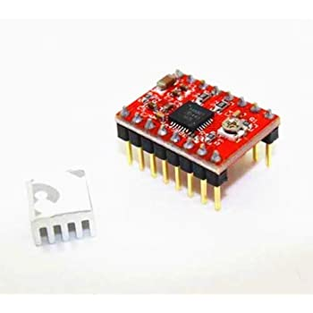 AS RETAILS PCB POLOLU A4988 Stepper Motor Driver Module with Heat Sink for 3D printer Arduino (RED)