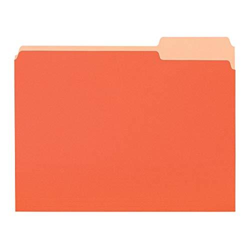 Amazon Basics File Folders, Letter Size, 1/3 Cut Tab, Orange, 36-Pack