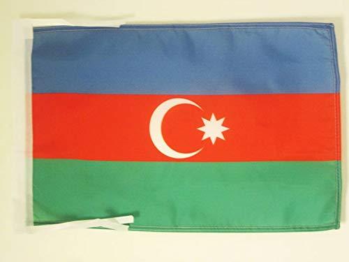 AZ FLAG Flagge ASERBAIDSCHAN 45x30cm mit Kordel - ASERBAIDSCHANISCHE Fahne 30 x 45 cm - flaggen Top Qualität