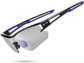 AALK Photochromic Sports Sunglasses polarized for Men Women MTB Cycling Glasses TR90 UV400 Protection Mountian bike Safety transition Glassess (Black Blue)