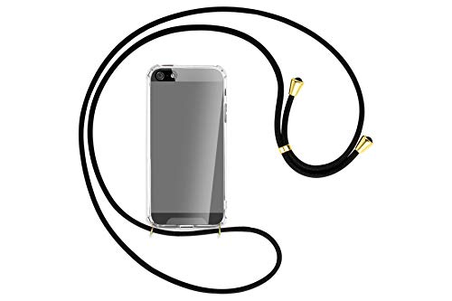 mtb more energy Collar Smartphone para Apple iPhone 5, 5S / iPhone SE (4.0'') - Negro/Oro - Funda Protectora ponible - Carcasa Anti Shock con Cuerda
