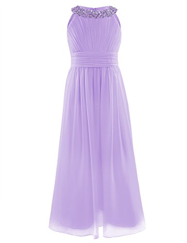 iEFiEL Junior&Girls Bridesmaid Elegant Sequins Neckline Long Chiffon Dress Pleating Prom Gown Lavender 12
