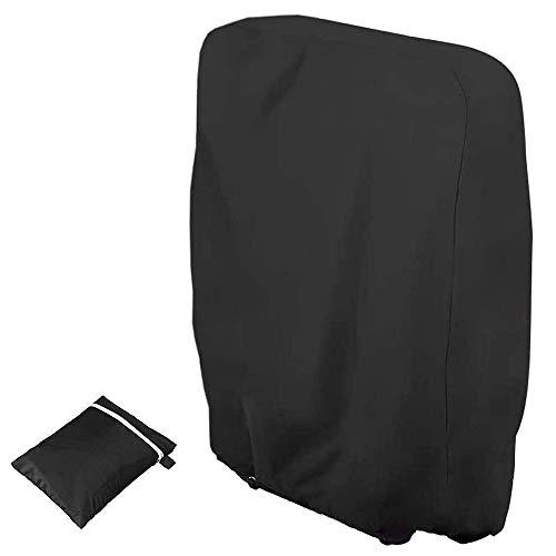 TOCYORIC Klappstühle Schutzhülle Gartenstühle Abdeckung UV-Beständig Winddicht für Gartenmöbel Deckchair Liegestuhl Klappbar, Inklusive Oxford Tragetasche, Schwarz(W97*H110cm)