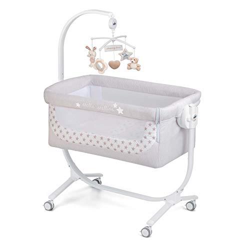 CAM 2 in 1 Beistellbett & Babywiege CULLAMI | höhenverstellbares Babybett | praktisch & schön| hochwertige Materialien - Made in Italy | flexibler Stubenwagen (Sternenehimmel)