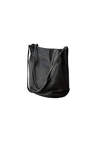 Ulisty Damen Baumwolle und Leinen Schultertasche Sommer-Strandtasche Beiläufig Eimer-Tasche Handtasche schwarz