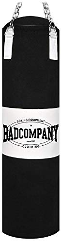 Bad Company Boxsack inkl. Heavy Duty Stahlkette I Canvas Punching Bag mit PVC-Target, ungefüllt I 120 x 30 cm - Schwarz/Weiß