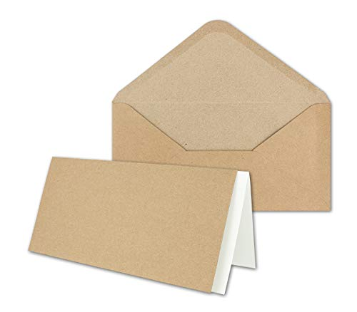 75x Set aus Klappkarten mit Umschlägen & Einlegeblätter - DIN Lang Recycling Einladungskarten in Braun Kraftpapier - Blanko zum Selbstgestalten