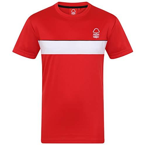 Nottingham Forest FC - Camiseta Oficial de Entrenamiento - Hombre - Poliéster - Rojo - Franja Blanca - 3XL