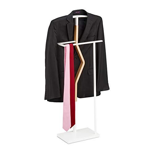 Relaxdays Herrendiener, für Anzug & Hose, Holz Metall Mix, Schlafzimmer, Kleiderbutler, HBT 107 x 48 x 20 cm, weiß/Natur