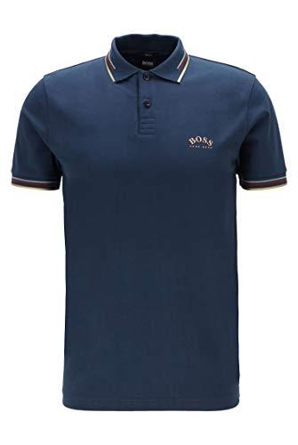 BOSS Herren Paul Curved Poloshirt aus Stretch-Piqué mit geschwungenem Logo