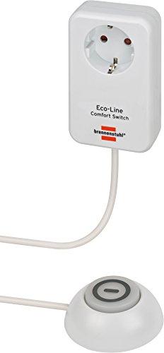 Brennenstuhl Eco Line Comfort Switch Adapter EL CSA 1 (Steckdose mit beleuchtetem Hand-/Fußschalter, mit erhöhtem Berührungsschutz, 1,5m Kabel)