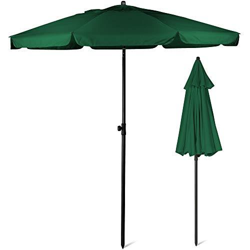 SUNMER 2M Green Beach Umbrella, Beach Parasol,Garden Outdoor Parasol With Tilt Mechanism