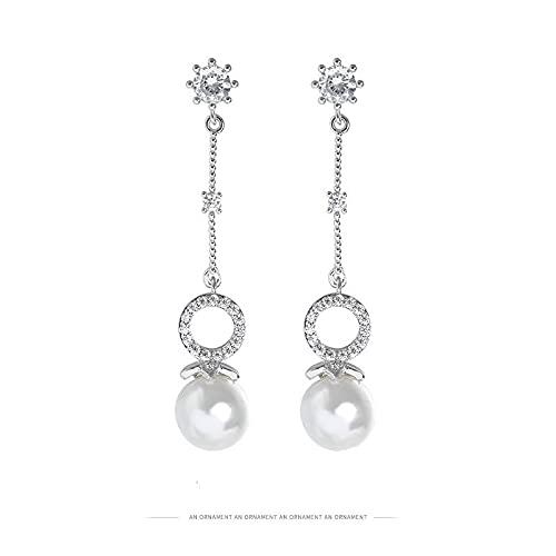 VCUTIN Pendientes largos de perlas de diamantes de imitación de círculo hueco pendientes de gota de boda fiesta joyería regalos para las mujeres