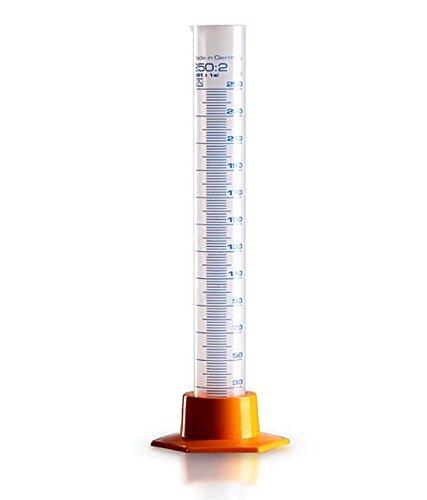 Messzylinder 250ml für Labor und Hobby, div. Größen, Kosmetex Messbecher transparent mit Ausguss, 250 ml