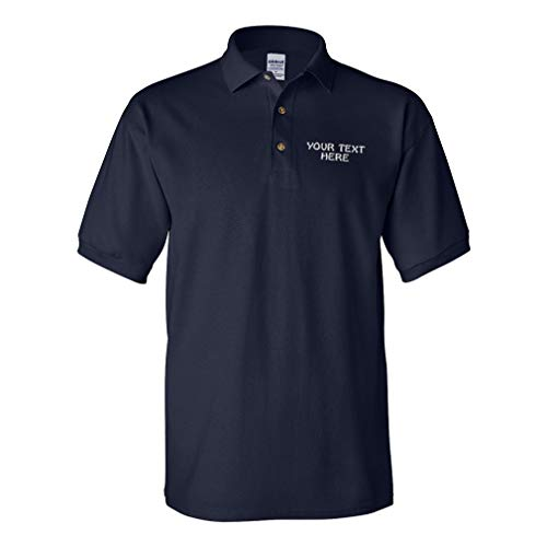 Polo Shirts for Men Custom Personalized Text Cotton Short Sleeves Golf Tees Navy X Large