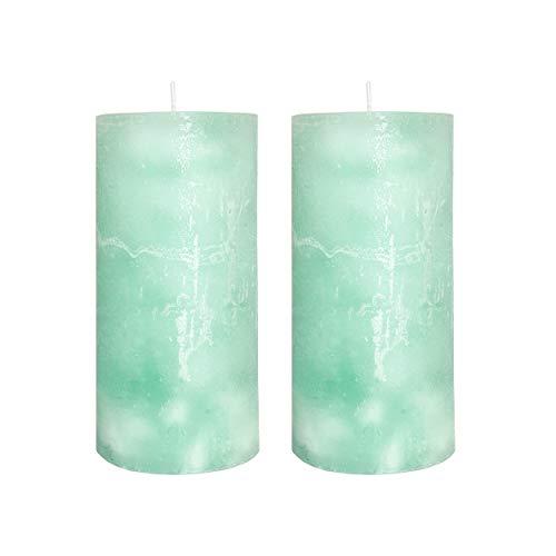 Knüllermarkt 32466 I Echtwachs Kerze 2er Set Mint grün I Adventskranz Gesteck Deko Weihnachten Kerzen