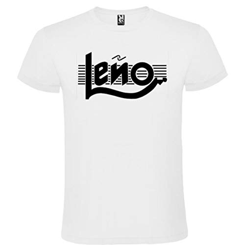 ROLY Camiseta Blanca con Logotipo de Leño Hombre 100% Algodón Tallas S M L XL XXL Mangas Cortas (L)