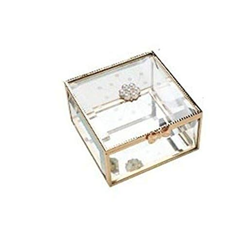 WNN - Caja decorativa URG de cristal para joyas, organizador de maquillaje, para pendientes, collares, anillos de oro URG (tamaño: estilo perla)