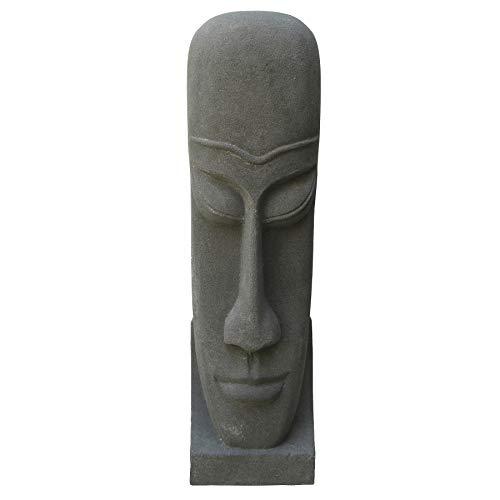 STONE art & more - Cabeza de Isla de Pascua (100 cm, Piedra fundida, Resistente a Las heladas)