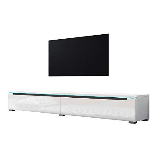 Swift – Fernsehschrank/Tv-Lowboard In Weiß Hochglanz Mit Led Hängend Oder Stehend 180 Cm