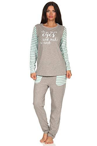Lässiger Damen Pyjama Schlafanzug im College-Look mit Print und abgesetzten Ärmeln, Farbe:grau, Größe2:40/42