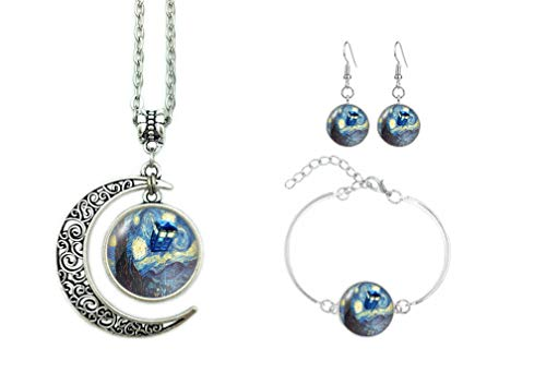 B Seve Moon Necklace Doctor Who The Tardis Crescent Pendant Vincent Van Gogh Starry Night Charms Gift For Women (Necklace+Bracelet+Earrings)