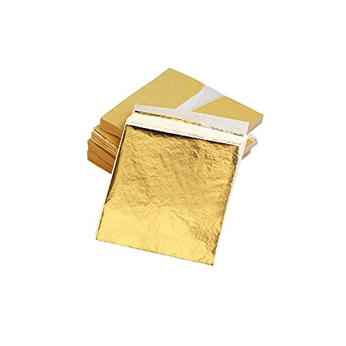KINNO 500 Blattgold Imitation Blattgold zum Basteln Schlagmetall Kunstprojekt, Möbel Dekoration 5x5 cm