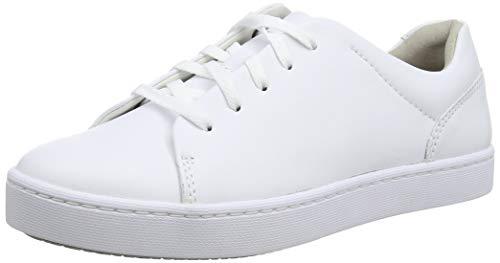 Clarks Damen Pawley Springs Sneaker, Weiß (White Leather White Leather), 39 EU