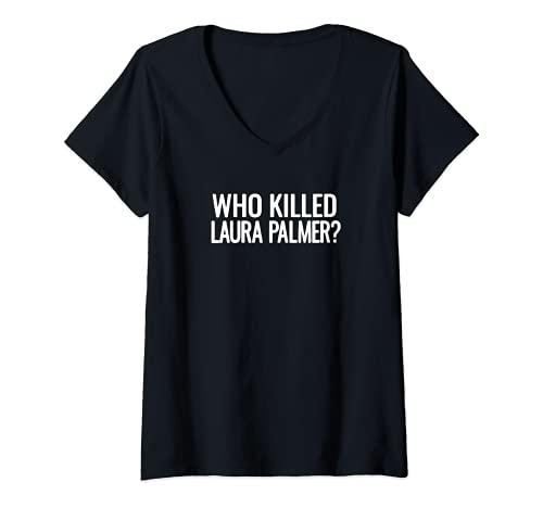 Mujer Twin Peaks Who Killed Laura Palmer White Camiseta Cuello V