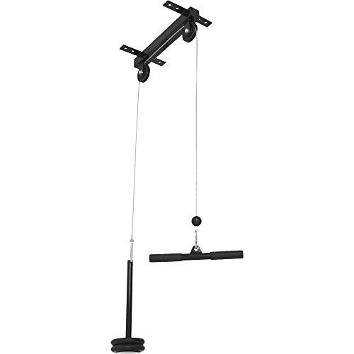 GORILLA SPORTS® Latzug zur Deckenbefestigung 30/31 mm – Kabelzug mit Griffstange bis 150 kg belastbar Schwarz