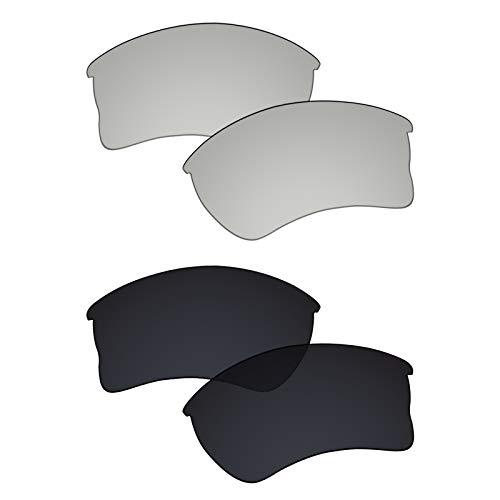 Galvanic Replacement Lenses for Oakley Quarter Jacket OO9200 Sunglasses - Chrome + Black Polarized - Combo Pack