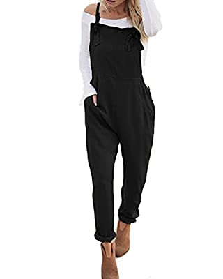 StyleDome Women's Sleeveless Overall Strappy Pocket Jumpsuit Baggy Romper Bib Loose Trousers Black M