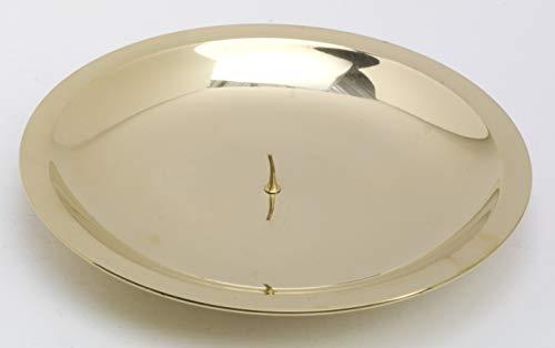 Kaarsen plateau, Buitendiameter 16 cm, Messing, goud, gepolijst, ronde vorm, Kaars doorn klein