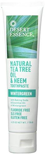 Desert Essence Natural Tea Tree Oil Wintergreen Toothpaste, 6.25 Ounce - 2 per case.