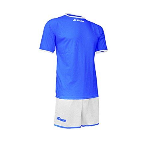 Kit Zeus Sticker Royal-Bianco Completino Completo Calcio Calcetto Muta Torneo Scuola Sport (L)