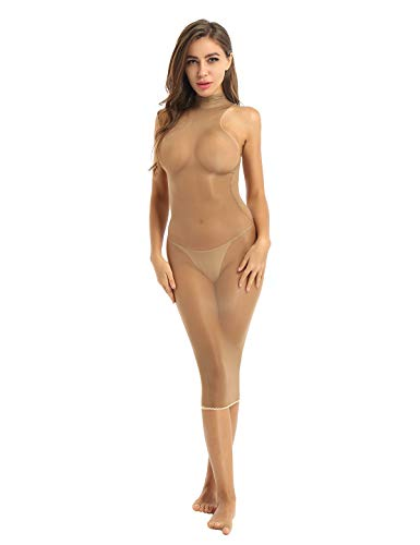 Yeahdor Damen Nylon Kleid Transparent Dessous Ouvert Body Stockings Minikleid Maxikleid Erotische Unterwäsche Sexy Negligee Kaffee C One Size